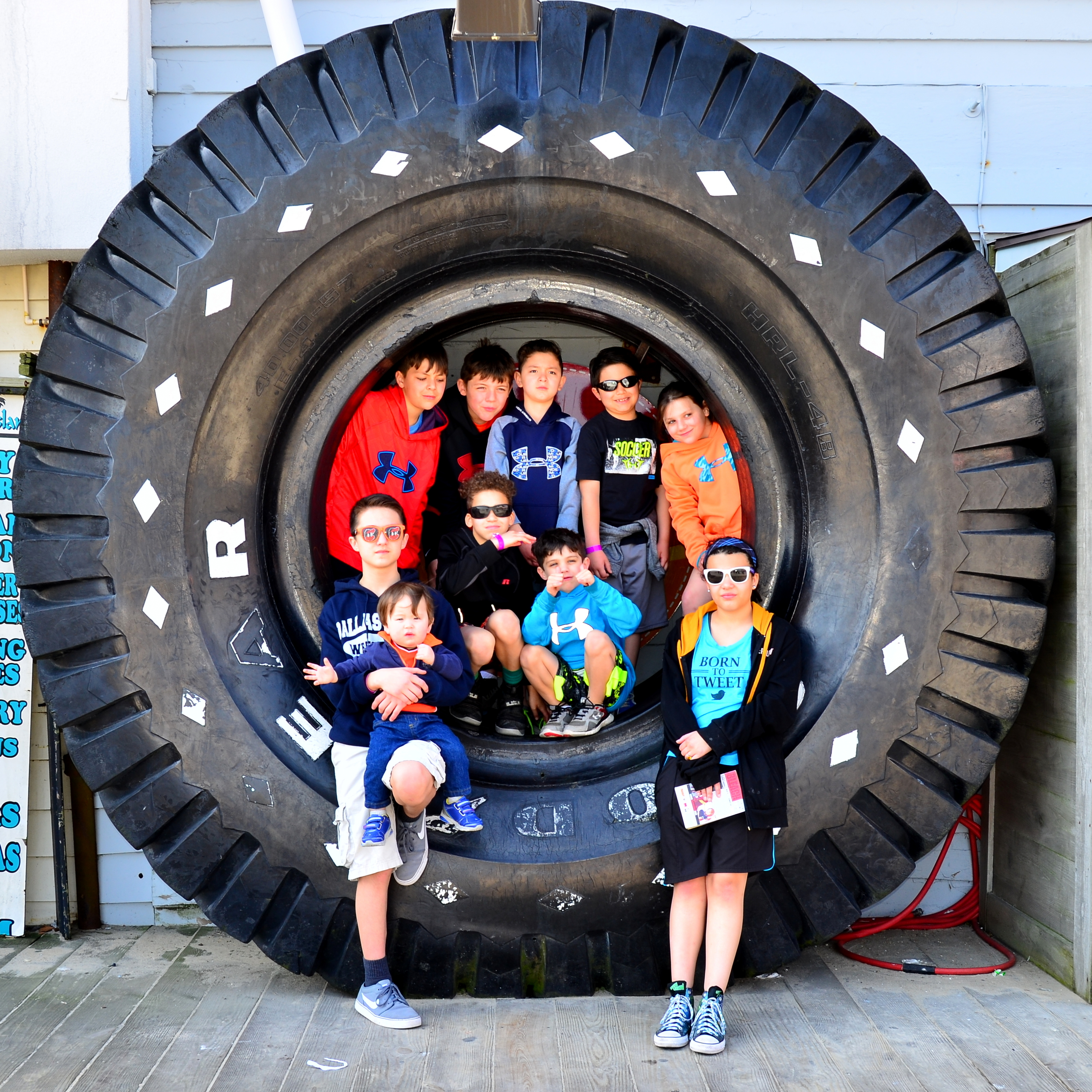 Grandkids in a Three Ton Tire